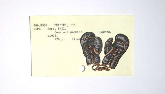 Boxing Gloves on Library Card - Print of painting of vintage boxing gloves on card for Come Out Smokin' about boxer Joe Frazier