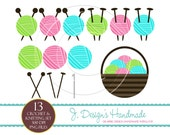 INSTANT DOWNLOAD Crochet And Knitting Clipart - Commercial Use - Digital Embellishment - Digital Art-scrapbooking