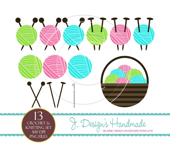 Crocheting Clipart : INSTANT DOWNLOAD Crochet And Knitting Clipart - Commercial Use ...