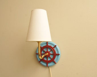 Vintage Nautical Sconce Lamp Red White and Blue