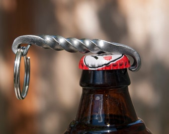 Hand Forged Twisted Bottle Opener Keyring