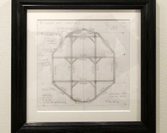 Bison sculpture architectural blue print/Cross Section Drawing of Waist pencil on paper matted and framed