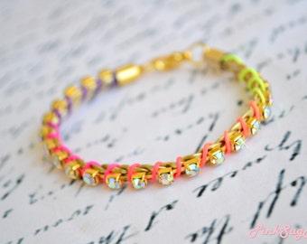 Neon Braided Bracelet Satin Cord Summer Bracelets Rhinestones Bracelet Gold Braid Leather Cord Bracelet - Handmade by PinkSugArt