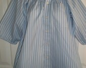 Peasant Blouse upcycled from a men's shirt 46 inch L pale blue stripe