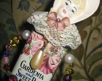 "Boudoir Doll - Vintage Tin Assemblage Art - ""Sweet Pea"" - Mixed Media -"