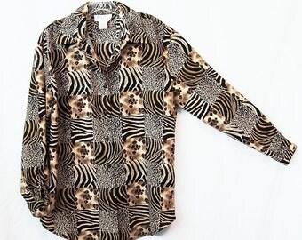 LEOPARD PRINT BLOUSE 1990s Button Up Oxford Long Sleeve Shirt Animal Print Wild Animals Safari Jungle Tiger Cheetah Zebra Women Small Medium