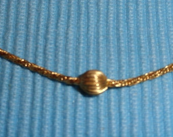 Vintage 50s Gold Tone Rope Necklace with Gold Beads