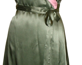 Wrap Dress, Green Dress, Silk Dress, Colorblock Dress, Kimono Dress, Midi Dress w/Cap Sleeves, Green & Pink Knee Length Dresses, OOAK