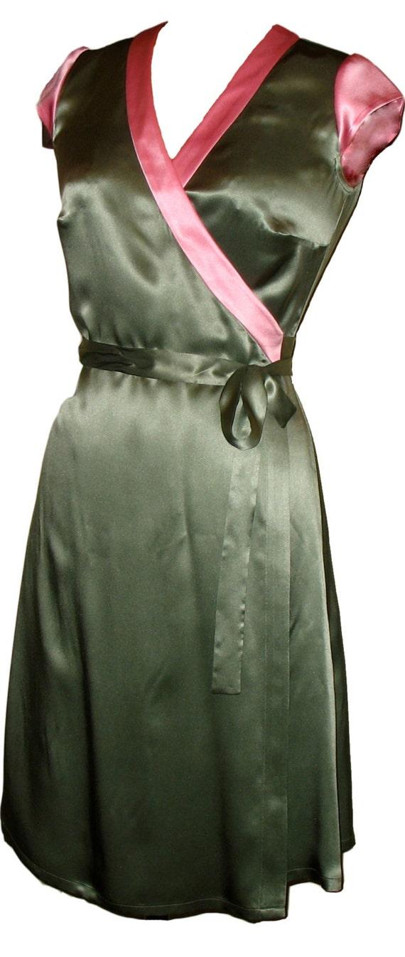 SALE. Silk Wrap Dress in Green & Pink Colorblock.  Kimono-Style Dress, Knee-Length Party Dress. kaj.ani
