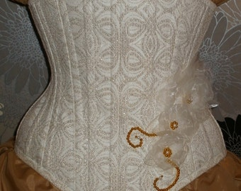 Ivory and Gold Brocade Under-Bust Corset