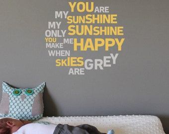 Delicieux You Are My Sunshine Nursery Wall Sticker | 30 X 30cm / 12 X 12 Inches