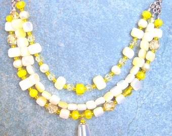 Vintage Choker 17 Inch Yellow and White Art Glass Sterling