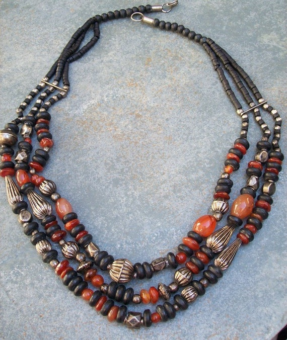 Vintage Necklace Three Strand Natural Stone and Wood Beads