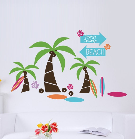 Beach Vinyl Wall Decal Personalized Wall Decal With By
