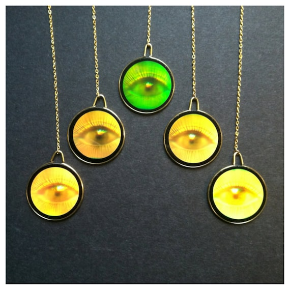 90s all seeing eye hologram necklace rosary gold chain