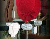 Original Vintage Red Everitt Needlepoint Hat
