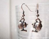 Tea pot earrings in antiqued gold or bronze