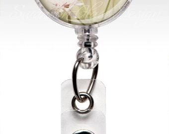 Retractable Badge Holder Pink Flowers - Name Badge Reel Clips - Nurse Badge - ID Badges 206