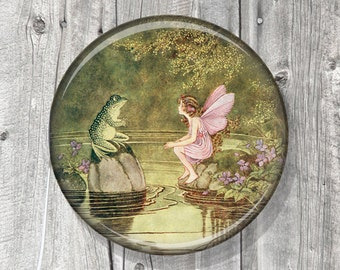 Pocket Mirror - Fairy Toad - Compact Mirror Illustration Image - Vintage Storybook - Party Favor - Gift under 5 - A125