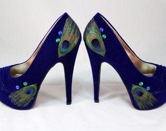 Royal Blue Wedding Peacock High Heels