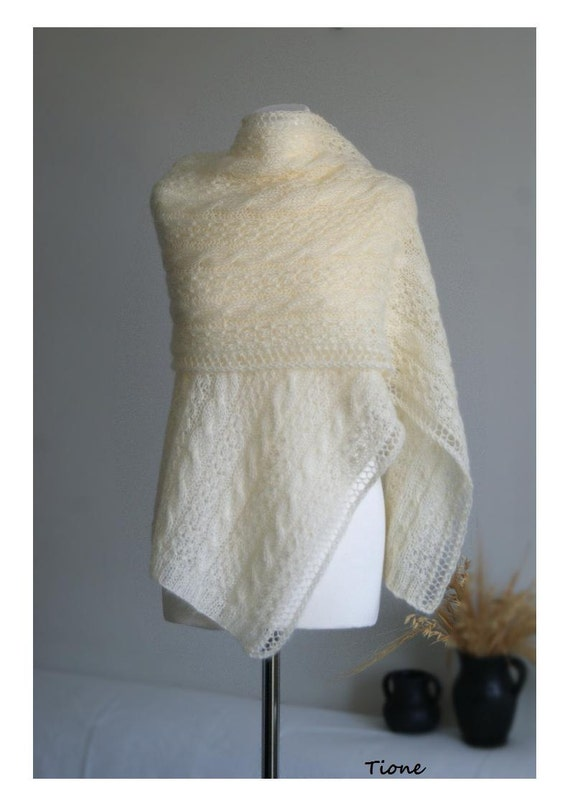 Vanilla Ecru Scarf Stole  Creme Lace Cable Shawl Hand Knitted Mohair. MADE TO ORDER.