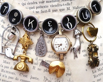TAKEOUT Typewriter Key Necklace Vintage Steampunk Watch Chinese Charms