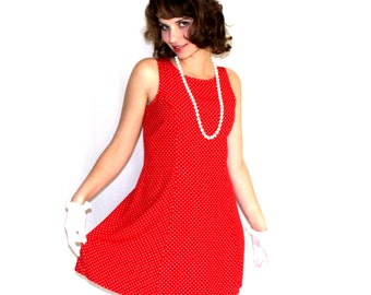 Vintage Red White Polka Dot Swing Dress. Summer Dress. Size Small Sundress. 1980s Mad Men Frock. Valentine's Day