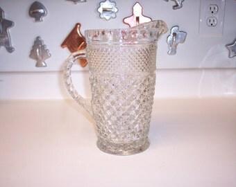 Vintage Anchor Hocking pressed glass pitcher in Wexford pattern