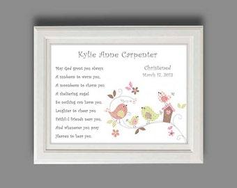 Baby Girls Christening Gift -Baptism Gift  -Bird Decor, Name Wall Art for Nursery, Personalized Bird Print - PRINT