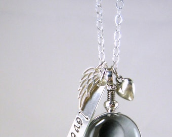 Remembrance Jewelry Necklace Glass Locket New Baby Jewelry New Mom Jewelry Wing New Baby Jewelry Heart Necklace Sterling Personalized BL1
