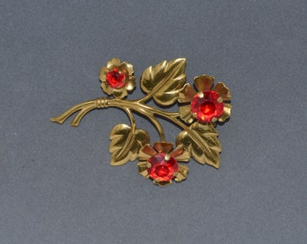 Vintage ART DECO Pin Ruby And Rhinestone Floral Design
