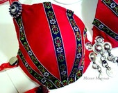 Tribal belly dancing bra - Rose Red - size 34-36 B. Tribal fusion belly dancing costume. OOAK