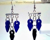 Cobalt Talhakimt chandelier earrings. Tribal fusion belly dance earrings. Ethnic jewelry.