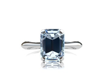 1.40ct, Aquamarine engagement, White Gold, Blue, engagement ring, Solitaire, light blue, thin, emerald cut, gold, vintage style