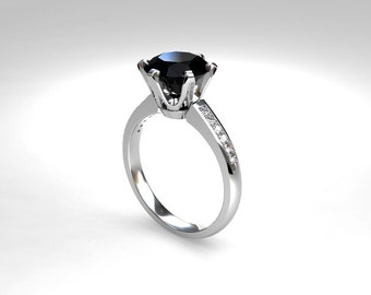Black Spinel ring, engagement ring, spinel, black engagement, solitaire, diamond ring, diamond engagement, thin, wedding ring
