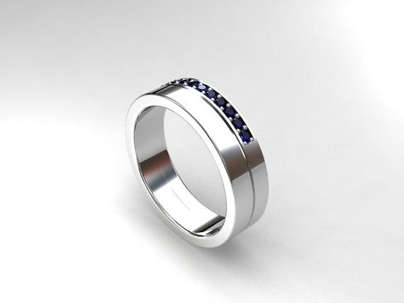 Blue Sapphire Ring Mens Wedding Band By TorkkeliJewellery On Etsy