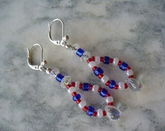 Red, White and Blue Dangle Earrings, Patriotic Dangle Earrings, Veterans Day, 4th of July, forth of July