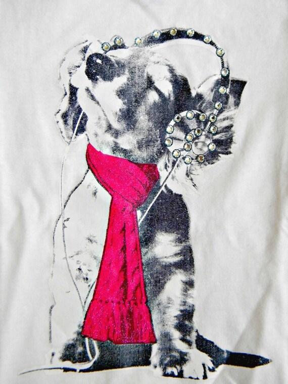 Girls youth 6x Long Sleeved T Glass Slippers Custom w/ Swarovski Crystal Rhinestone Music Headphones Puppy Dog Image White Shirt Childrens