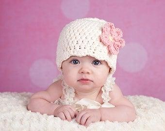 Cream Baby Hat Newborn Baby Girl Hat Flapper Beanie Flapper Hat Pink Flower Hat Photo Prop Baby Girl Newborn Hat Baby Girl Clothes Crochet