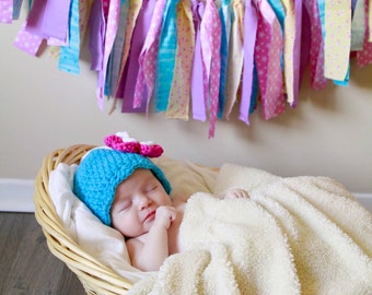 Newborn Baby Girl Hat Newborn Baby Hat Newborn Hat Baby Girl Clothes Turquoise Blue Hot Pink Crochet Flower Hat Flapper Beanie Photo Prop