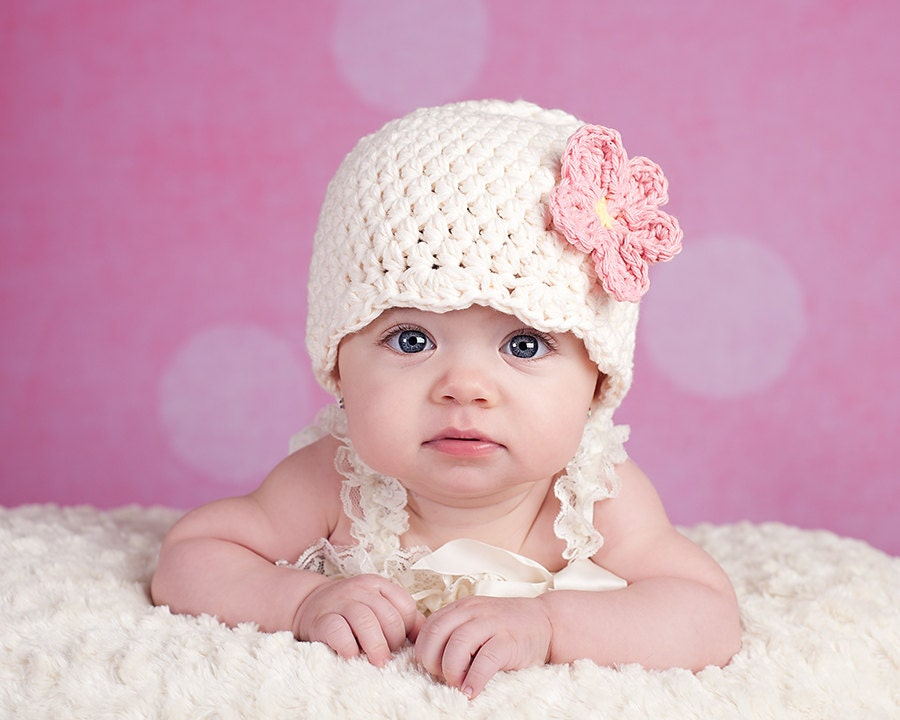 Cream Baby Hat Newborn Girl Flapper Beanie