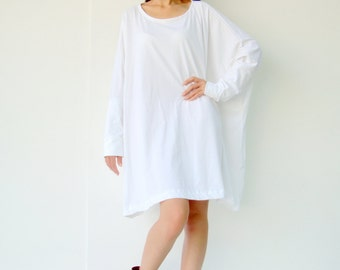 NO.62 Off White Cotton Jersey Oversized T-Shirt Tunic Sweater, Women's Top