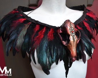 Animal-friendly Feathered Faux Fox skull collar in metallic Gold and Wine Mortiis.M