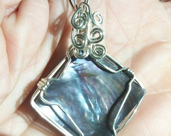 Mother of Pearl Shell focal, wirewrapped pendant