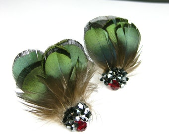 Green Feather Earrings with Swarovski Crystals