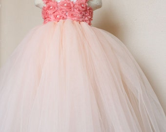 Petal peach Coral tutu dress Flower Girl Dress baby dress toddler birthday dress wedding dress 1T 2T 3T 4T 5T 6T