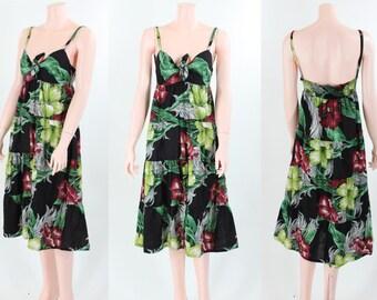 Vintage 1970s Bohemian Hawaiian Floral Sundress with Tiered Skirt \\ Resort, Beach \\ Small - Medium \ S - M \\ PRICE REDUCED!!