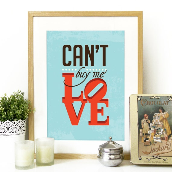 Can T Buy Me Love Quotes: Beatles Can't Buy Me Love Music Poster Print Typography