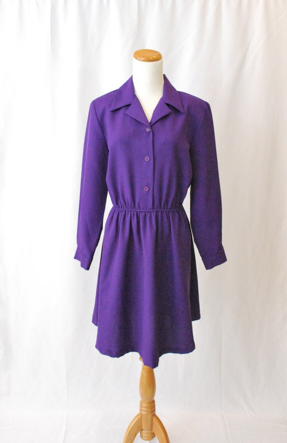 Vintage 80's Reconstructed Purple Long Sleeve Skater Dress