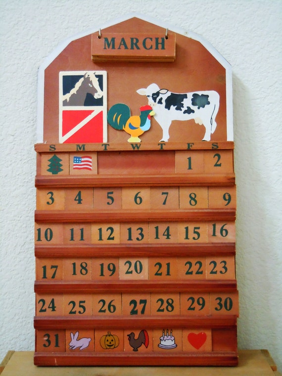 Vintage Wooden Barnyard Perpetual Wall Calendar / Farm Animals